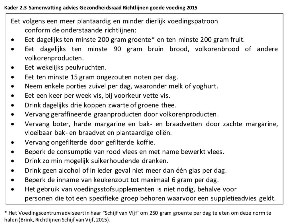 Samenvatting van de richtlijnen van de Gezondheidsraad met betrekking tot goede voeding.
